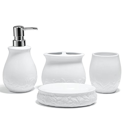 HUIDANG 4 piece White Embossed Leaves Ceramic Soap Dispenser, Toothbrush Holder Soap Dish & Tumbler Bathroom Set Bathroom White Ceramic