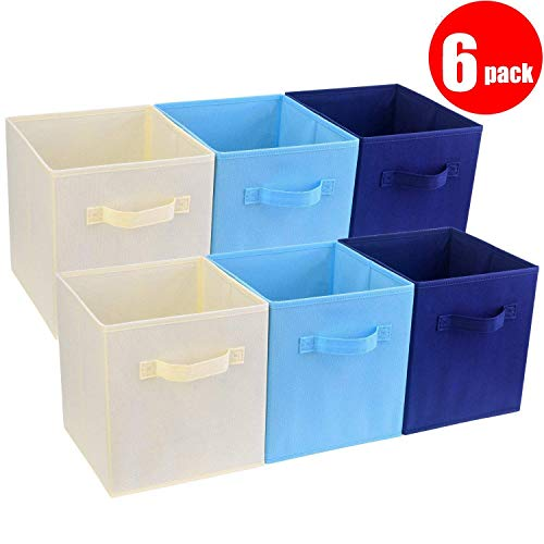 "([6-Pack] Basket Bins- Senbowe Fabric Cloth Collapsible/Foldable Storage Cubes Bins Baskets Organizer Containers with Handles for Home Closet Nursery Drawers Organizers(10.6 x 10.6 x 10.6""))"