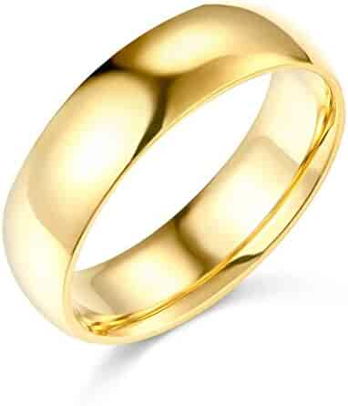 14k Yellow OR White Gold 6mm SOLID Heavy COMFORT FIT Plain Wedding Band