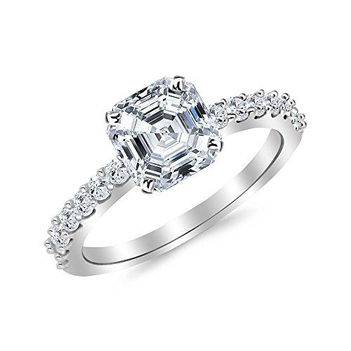 14K White Gold 1.14 CTW Classic Prong Set Diamond Engagement Ring w/ 0.71 Ct Asscher Cut H Color VVS2 Clarity Center - Asscher Cut Diamond Engagement Ring