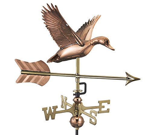 Good Directions Flying Duck with Arrow Cottage Weathervane - Pure Copper with Roof Mount -