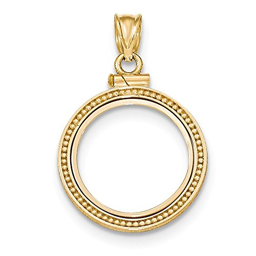 Jewelry Stores Network 14k Yellow Gold Beaded Screw Top 1/10 oz American Eagle Coin Bezel ()