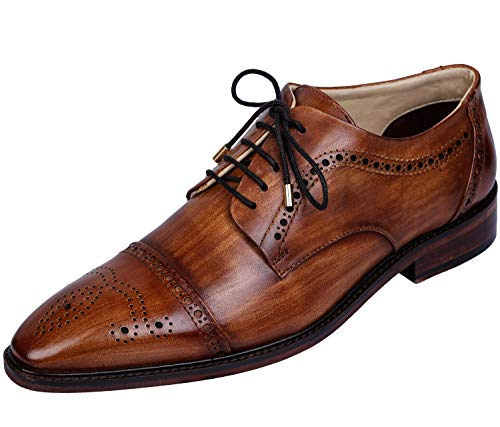 Boots Handmade Leather (Lethato Handcrafted Mens Captoe Genuine Leather Lace Up Boot Style Shoes , Wooden , 12.5 - 13 US)