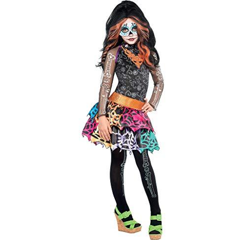 Monster High Skelita Calaveras Costume Wig Dress Tights Child Medium 8-10 ()