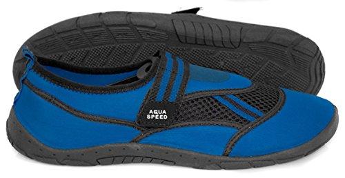 AQUA-SPEED® AQUA-SCHUHE Model 25 (Größen: 40-45 Unisex Anti-Rutsch-Struktur Schwimmbad Swimmingpool Klettverschlüsse Neopren)
