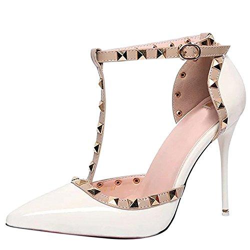 Oasap Women's Pointed Toe T-strap Rivet Stiletto Sandals White c50sgVlRW