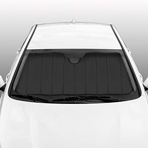 BDK-AS-2511 Front Windshield Shade-Accordion Folding Auto Sunshade for Car Truck SUV-Blocks UV Rays Sun Visor Protector-Keeps Your Vehicle Cool-57 x 27 Inch, Black Glitter