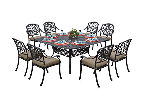 Darlee Elisabeth Cast Aluminum 9-Piece Dining Set with Seat Cushions and 64-Inch Square Dining Table, Antique Bronze Finish For Sale