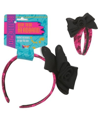Neon Lace Headband W/Bow – Pink Accessory, Health Care Stuffs