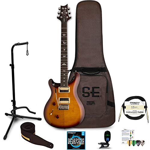 PRS SE Custom 24 Left Handed Electric Guitar with Gig Bag: Includes ChromaCast Stand, Strap, Strings, Tuner, Picks & Cable, Tobacco Sunburst