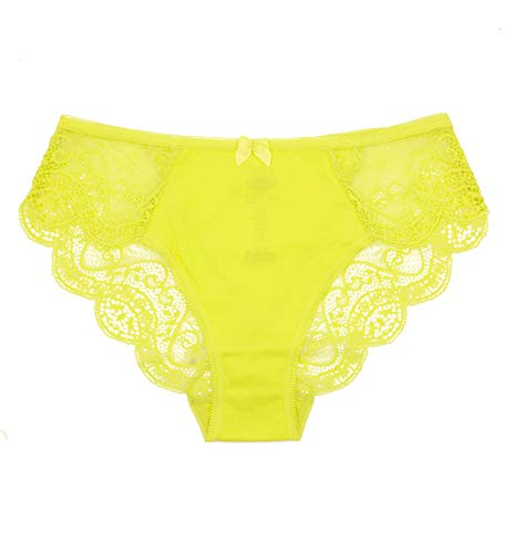 0201 Best Seller Women Lingerie Lace Soft Cotton Sexy Bikini Underwear Gifts For Women Undies Pantys BBW Briefs, USA8/EUR 2XL Yellow 1 Pack