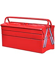Goplus 20-Inch Portable 5-Tray Cantilever Metal Tool Box Steel Tool Chest Cabinet, Red