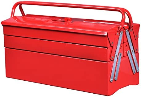 Amazon Com Goplus 20 Inch Portable 5 Tray Cantilever Metal Tool Box Steel Tool Chest Cabinet Red Home Improvement
