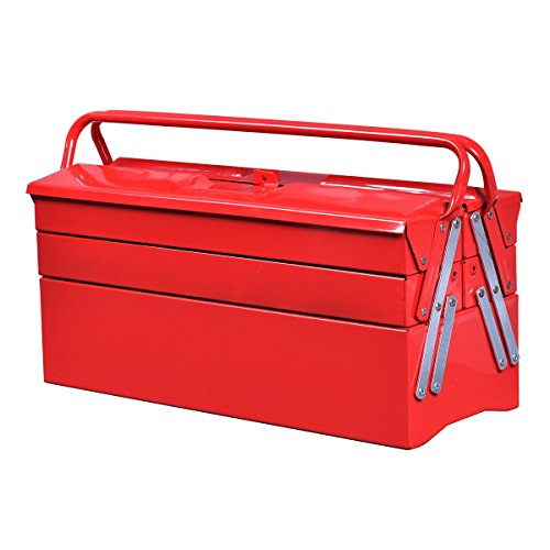 Goplus 20-Inch Portable 5-Tray Cantilever Metal Tool Box Steel Tool Chest Cabinet, Red ()
