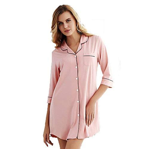 Damas Sleepshirt Larga Botón Delantero V Cómoda Cuello Con Ropa Chemise Pijama Dormir Otoño Camisón Flojo Clásico Rosa Mujeres Manga De En rSnYvwrx0