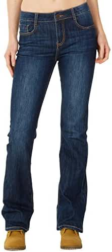 Mid Rise Faded Bootcut Flared Jeans - Dark Blue