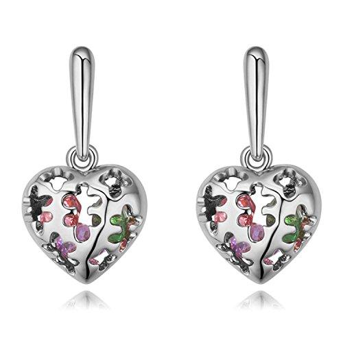 Women Earings Funny Puzzle Pattern Hollow Heart Earrings Jewelry Women Genuine Earring Gift - Savannah Outlets Ga