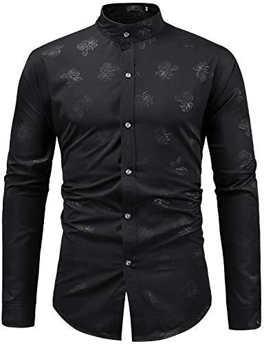 ZEROYAA Mens Hipster Paisley Design Slim Fit Long Sleeve Mandarin Collar Dress Shirts Tops ZZCL05 Black Medium
