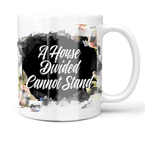 - Neonblond 11oz Coffee Mug Floral Border A House Divided Cannot Stand with your Custom Name