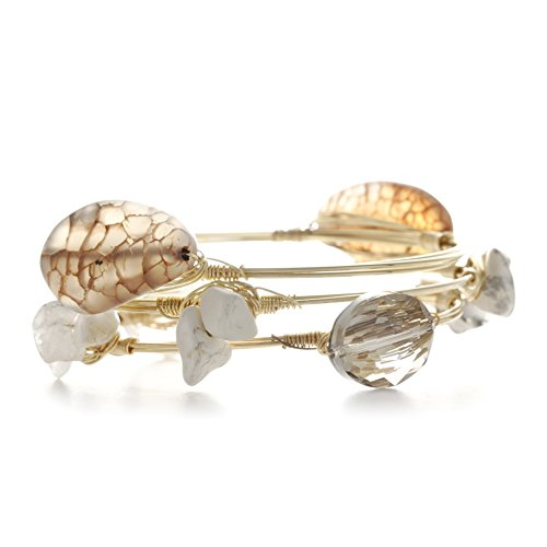 Inspired Silver Crystal Rock Charm Multiple Wrapped Wire Gold Tone Finish Bangle Bracelet Set (Bracelet Silver Wrapped Wire)