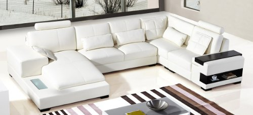 Divani Casa Diamond Modern Bonded White Leather Sectional Sofa White/Left Facing Chaise