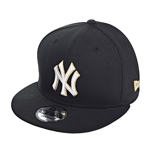 New Era New York Yankees 9Fifty Men's Snapback Hat Cap Black/White/Gold 70432224 (Size OS)