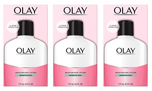 Face Moisturizer by Olay, 12-Hour Hydration with Aloe, Moisturizing Facial Lotion for Sensitive Skin - 6 Oz (Pack of 3) Packaging may Vary