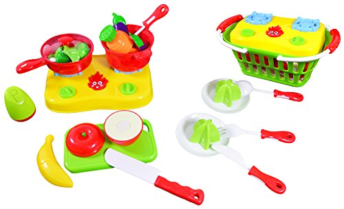 CoolToys Fruit and Vegetable Cutting Playset - Pretend Stovetop and Cooking Utensils in Plastic Grocery Basket (20 Pieces) (Velcro Cooking Playset compare prices)