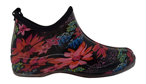 with Black Rubber Women's Insole Rainboot Nickanny's Floral Red Comfortable Ankle Gardenboot amp; Natural High Ixqd86P