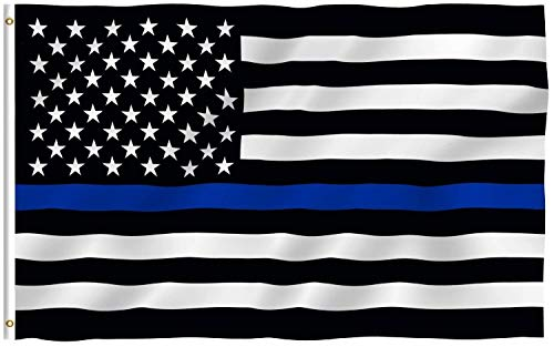 Thin Blue Line Flag 3 x 5 Foot Polyester Police Flag with Grommets-Includes 5 Thin Blue Line Flag 3 x 5 Inch Stickers for Car Truck Office Locker As a Bonus