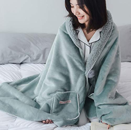 KIKIGOAL Unisex Winter Oversized Flannel Blanket Poncho Cape Shawl Coat (Green, M)