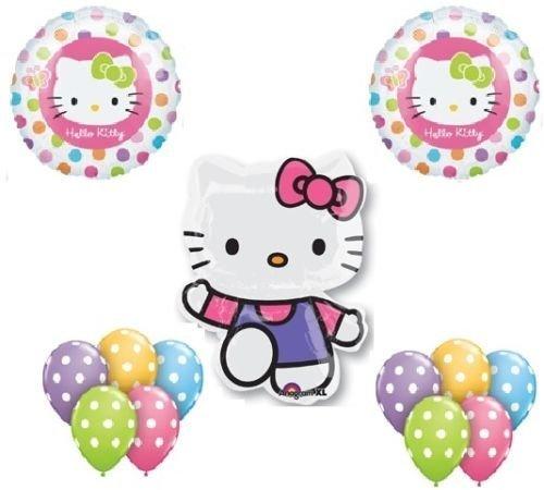 LoonBalloon HELLO KITTY Cat POLKA Dots (13) Birthday PARTY Supplies Mylar Latex BALLOONS Set for $<!--$11.99-->