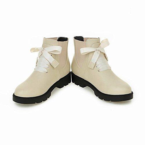 Latasa Womens Fashion Flat Chelsea Fall Ankle Boots Beige qp1BtN61p