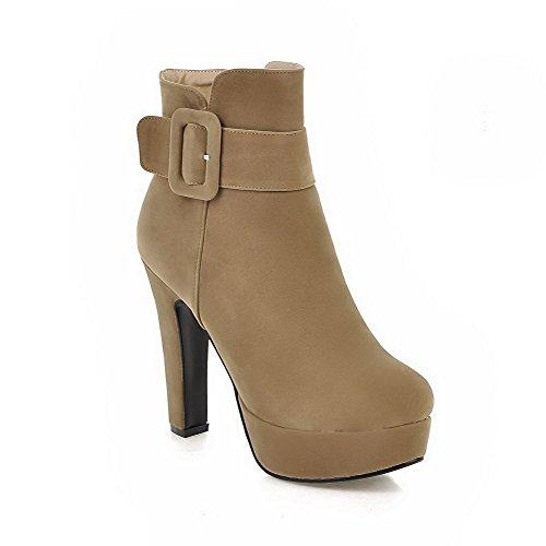 AgooLar Damen Gemischte Farbe Niedriger Absatz Rund Zehe Stiefel mit Metallisch, Gelb, 40
