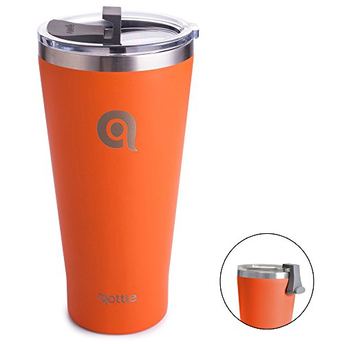 qottle 30oz Stainless Steel Tumbler - Orange Powder Coated (Teal with Spill Proof Lid) Sweat Proof for Cup-holder