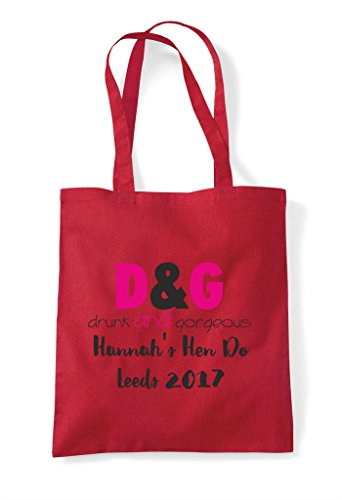 Hen Shopper Customised Do Tote Personalised And Gorgeous Party Bag Red Drunk Parody ggr4vq