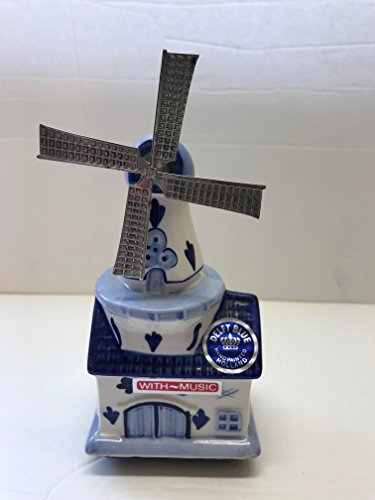 Blue Delft Holland Spinning Windmill Music (Delft Music Box)