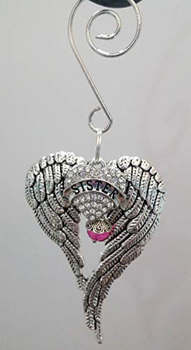 Sister Angel Wings Memorial Ornament In Memory Gift w/Rhinestone Heart & Bright Pink Crystal (Wing Ornaments Angel Feather)