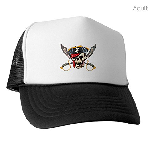 Royal Lion Trucker Hat (Baseball Cap) Pirate Skull Eyepatch Gold Tooth - Black and White - Pirate Tooth Cap With Skull