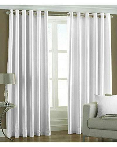 Star Decor 3 Piece Solid Long Crush Plain Eyelet Curtain 5 Feet Window White 3 Piece