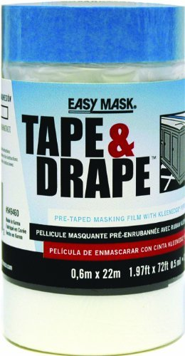 """Easy Mask Pre-Taped Drop Cloth Plastic 0.5 Mil 48 /"""" X 75 /'"""