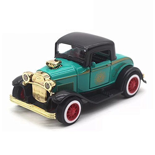 (LW Vintage Cars Retro Style 1:32 Hard Top Vintage Cars Scale Diecast Car model Collection Light&sound (Green))