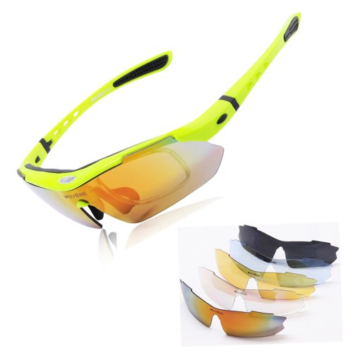 WOLFBIKE POLARIZE Sports Cycling Sunglasses with 5 Set Interchangeable Lenses Green - Cycling Sports Prescription Sunglasses