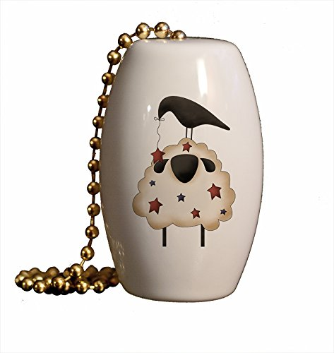 Americana Sheep and Crow Porcelain Fan/Light Pull ()
