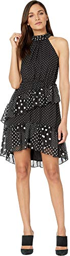 Betsey Johnson Cocktail Dresses - Betsey Johnson Womens Polka Dot Halter Cocktail Dress Black-Ivory 6