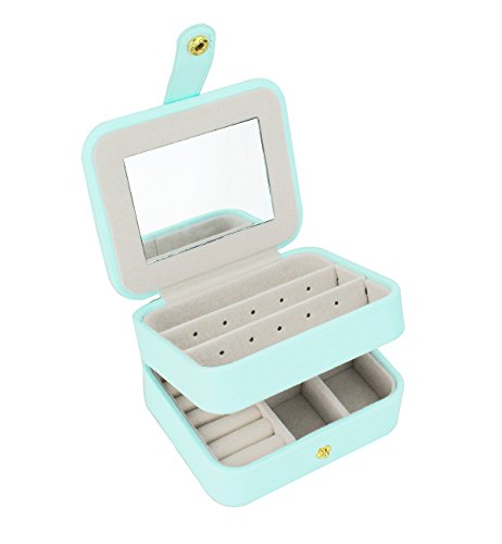 Zmart Portable Travel Jewelry Box Organizer Earring Ring Holder Necklace Storage Case with Mirror (Light Blue)