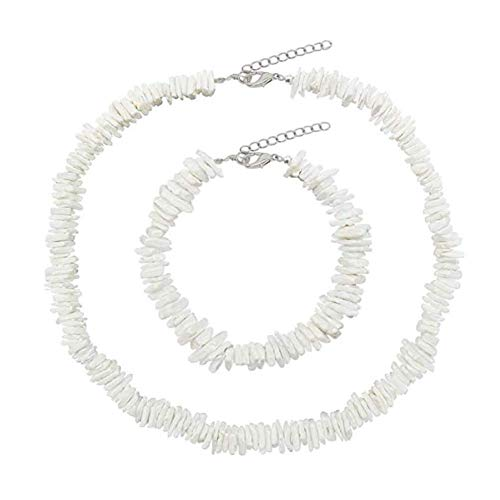- Dremcoue Puka Shell Necklace for Women Handmade Clam Chips Puka Shell Beach Choker Necklace White Sea Shell Necklace Anklet Set Hawaiian Beach Jewelry