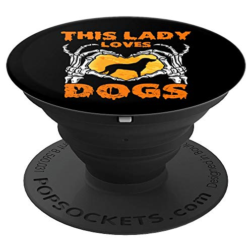 This Lady Loves Dogs Halloween Love Skeleton Hands Heart - PopSockets Grip and Stand for Phones and Tablets