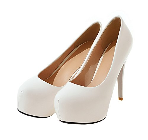 36 toe Pompe Pu on Pull Donne Weenfashion pattini Bianco Solidi Round Tacchi 04BpnPTfq