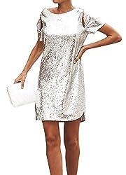 Sequin Backless Short Sleeve T-Shirt Dress